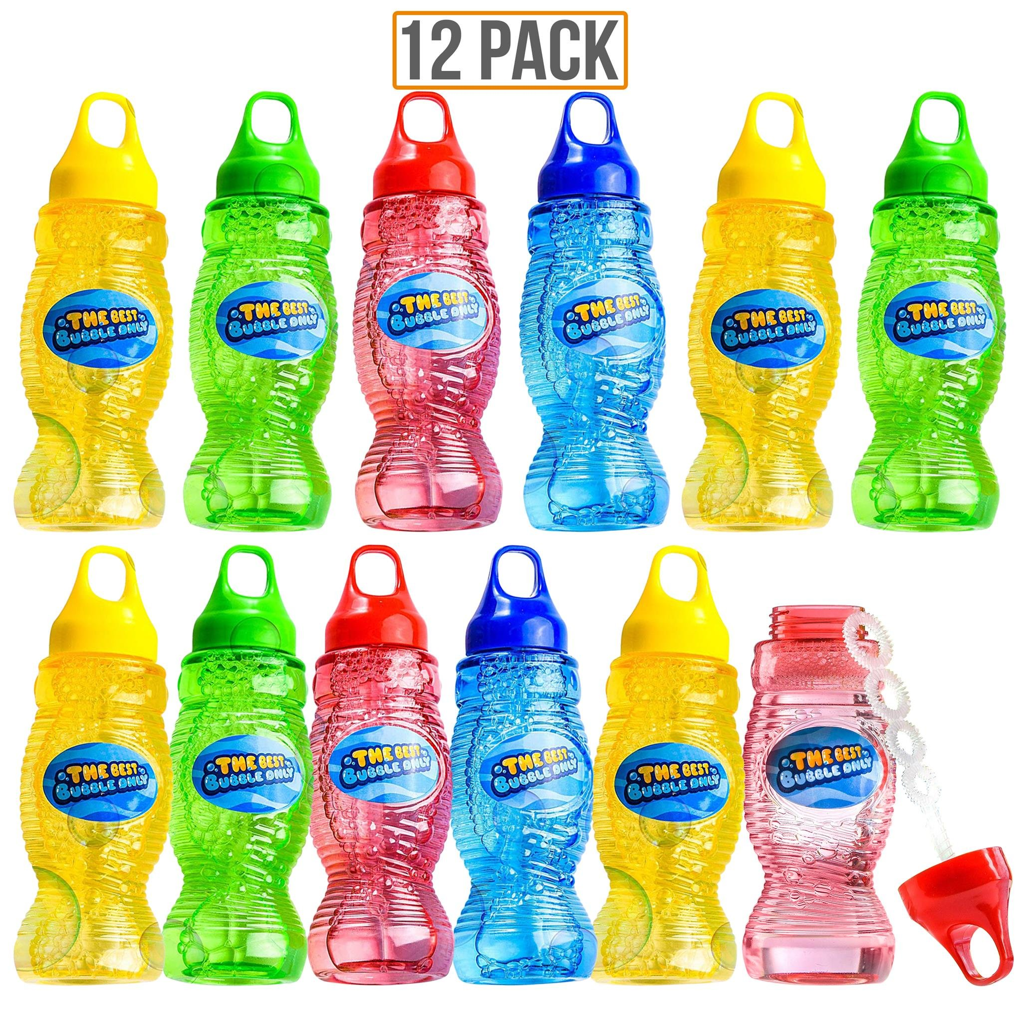 Prextex 12-Pack 8 Oz Bubble Solution with Wand, Bubble Gun Refill, Kids Outdoor Toys for Pool, Birthday, Wedding, Bubble Party Favors