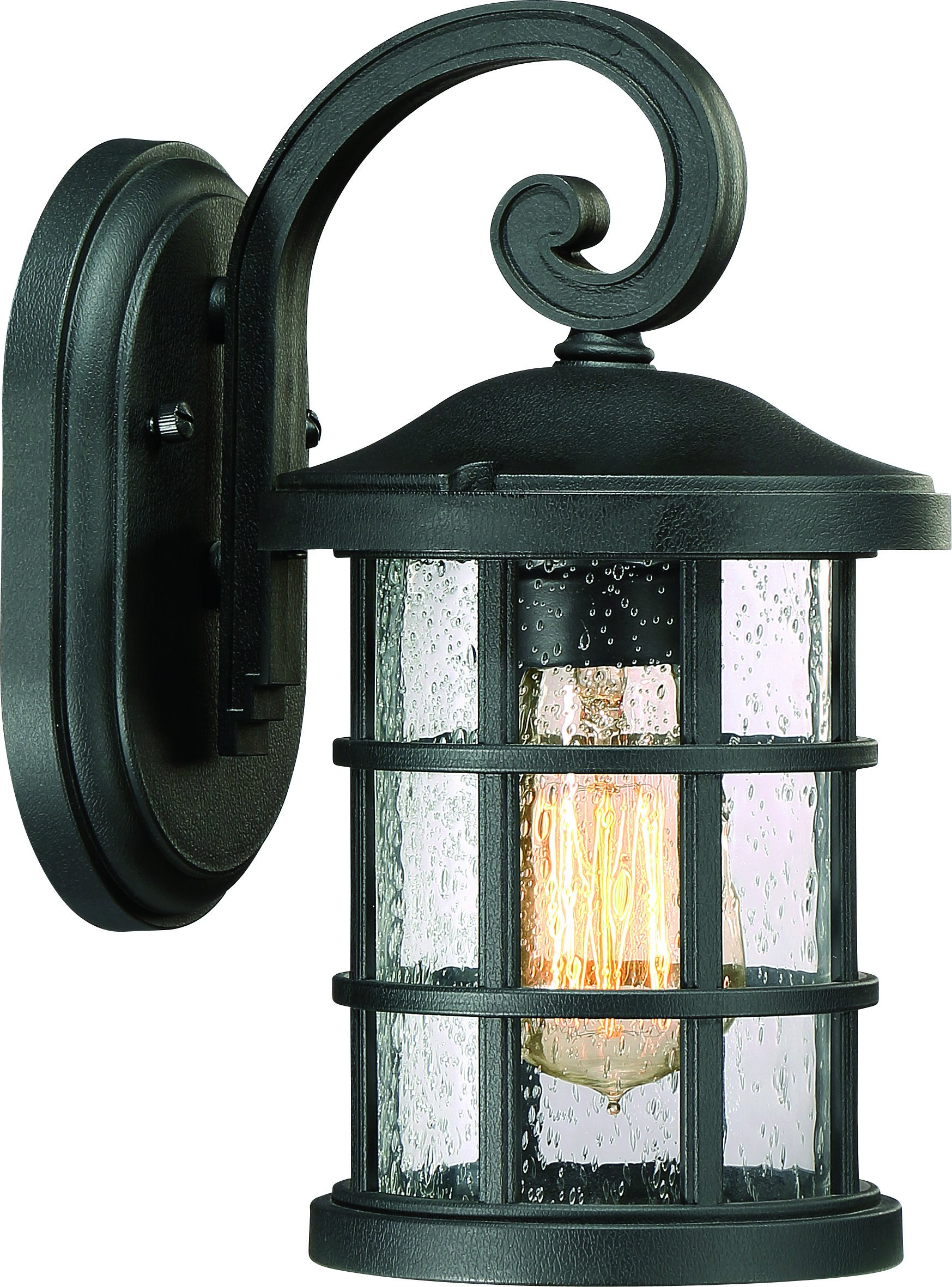 Luxury Craftsman Outdoor Wall Light, Small Size: 11'' H x 6'' W, with English Tudor Style Elements, Wrought Iron Design, Natural Black Finish and Seeded Glass, UQL1040 by Urban Ambiance