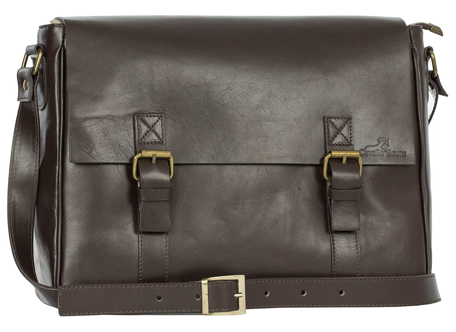 Mens Leather Double Buckle Large Cross Body Messenger Work Office Laptop Bag