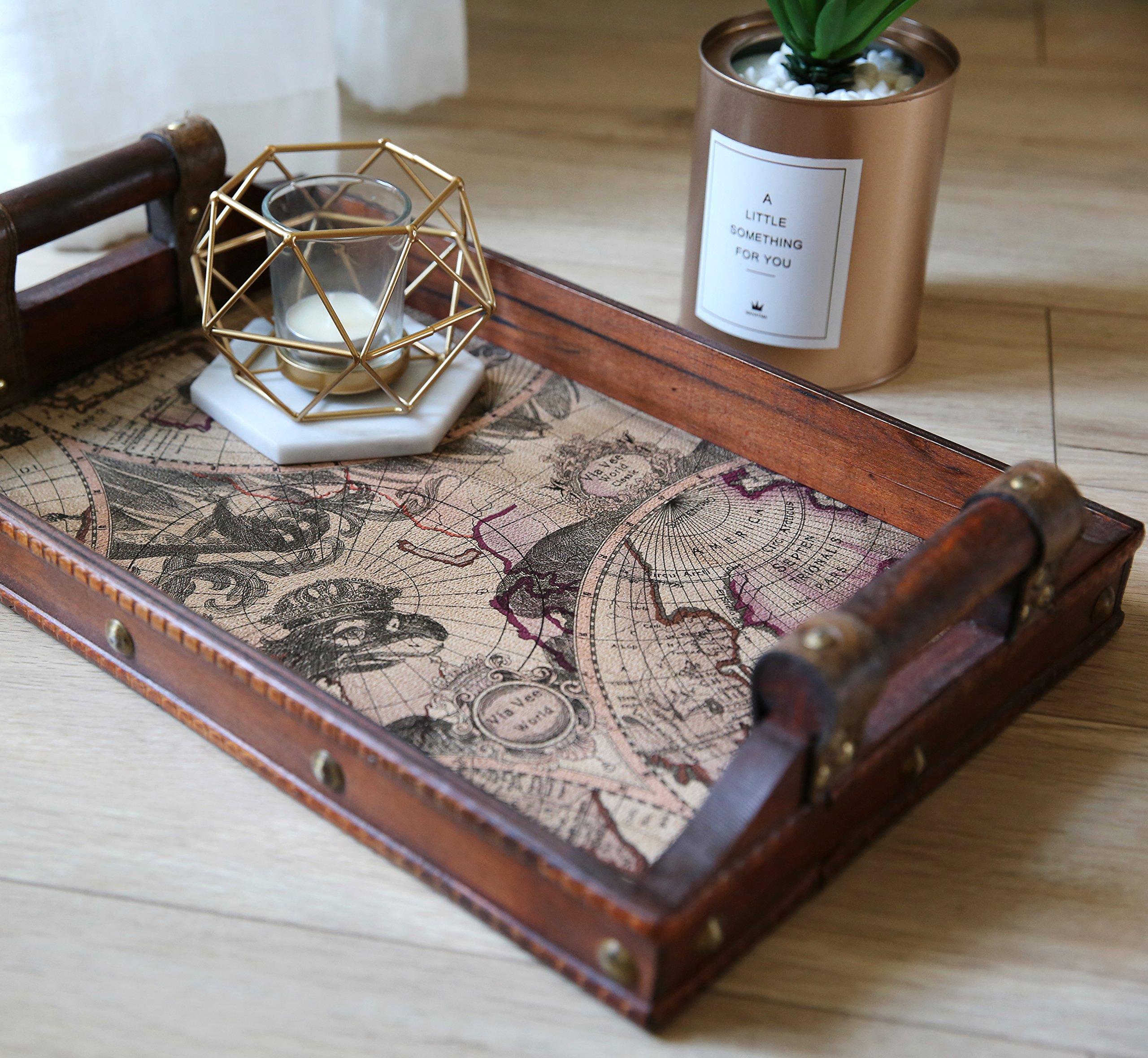 SLPR Worldly Wooden Designer Serving Tray Set with Handles (Set of 2) | Wood Nesting Rectangular Travel Themed Butler Breakfast Vintage Style Serving Tray by SLPR (Image #5)
