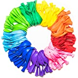 Party Balloons 12 Inches Rainbow Set (100 Pack), Assorted Colored Balloons Bulk Made Strong Latex Helium Air Use, Birthday Balloon Arch Supplies, Decoration Accessory.