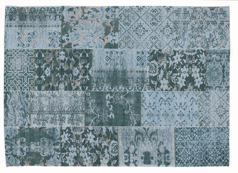 DALLIANCE ALLOVER Vintage Patchwork Velour Teppich in türkis, Größe  90x160 cm