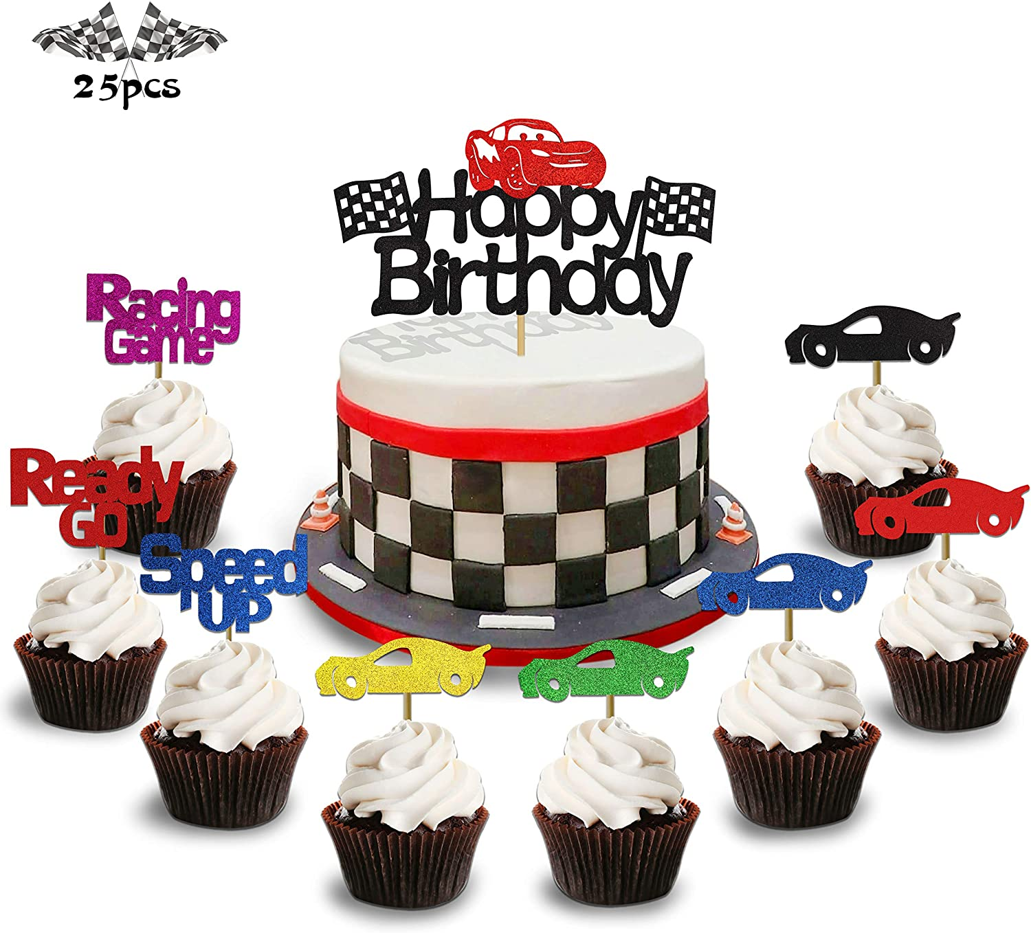 Pleasant Amazon Com Kapokku Set Of 25 Racing Car Glitter Cake Cupcake Funny Birthday Cards Online Elaedamsfinfo