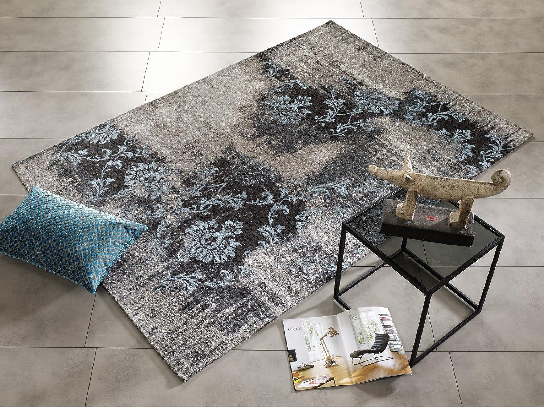 REAL ROSE Vintage Patchwork Velour Teppich in grau-blau, Größe  120x180 cm