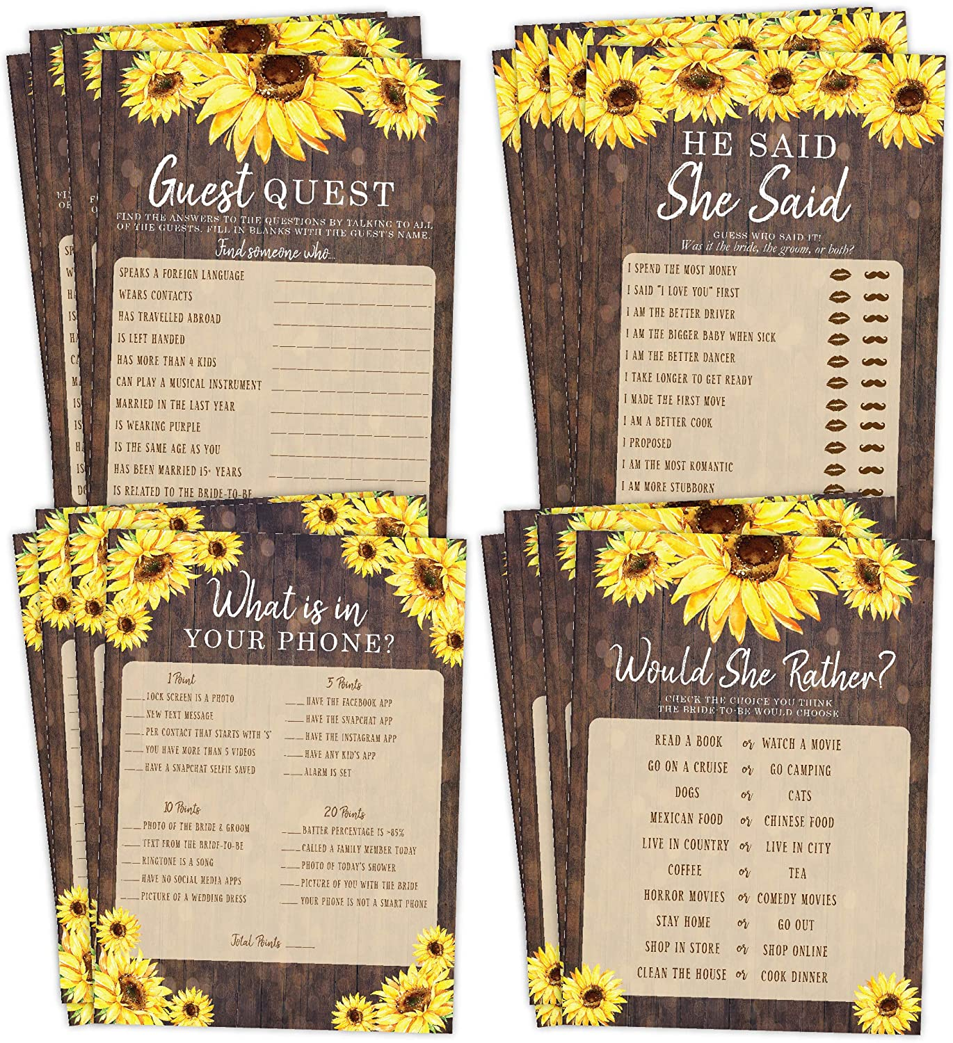 Sunflower Bridal Shower Bachelorette Games, He Said She Said, Find The Guest Quest, Would She Rather, Phone Game, 25 games each