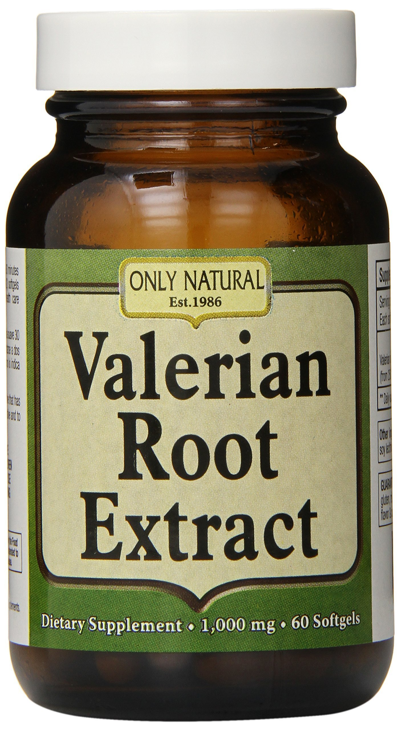 Only Natural Valerian Root Softgels, 1,000 mg, 60 Count