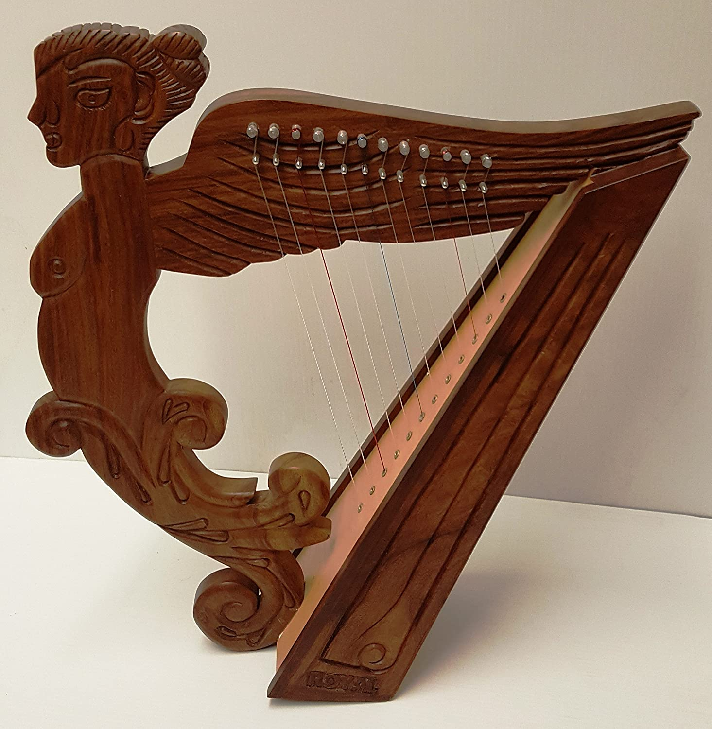 Angel Figure Shaped Harp Hand Carved and Engraved 12 String Great Craftsmanship Sturgis