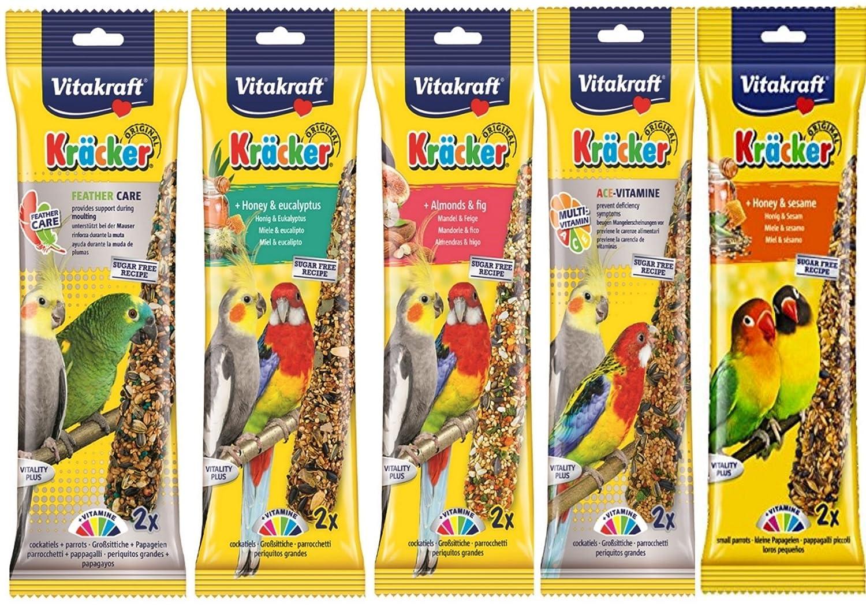 VITAKRAFT. Variedad mezclada, 5 paquetes de dos 10 pegatinas de cockatíel para colgar jaula de pájaros de pájaro.