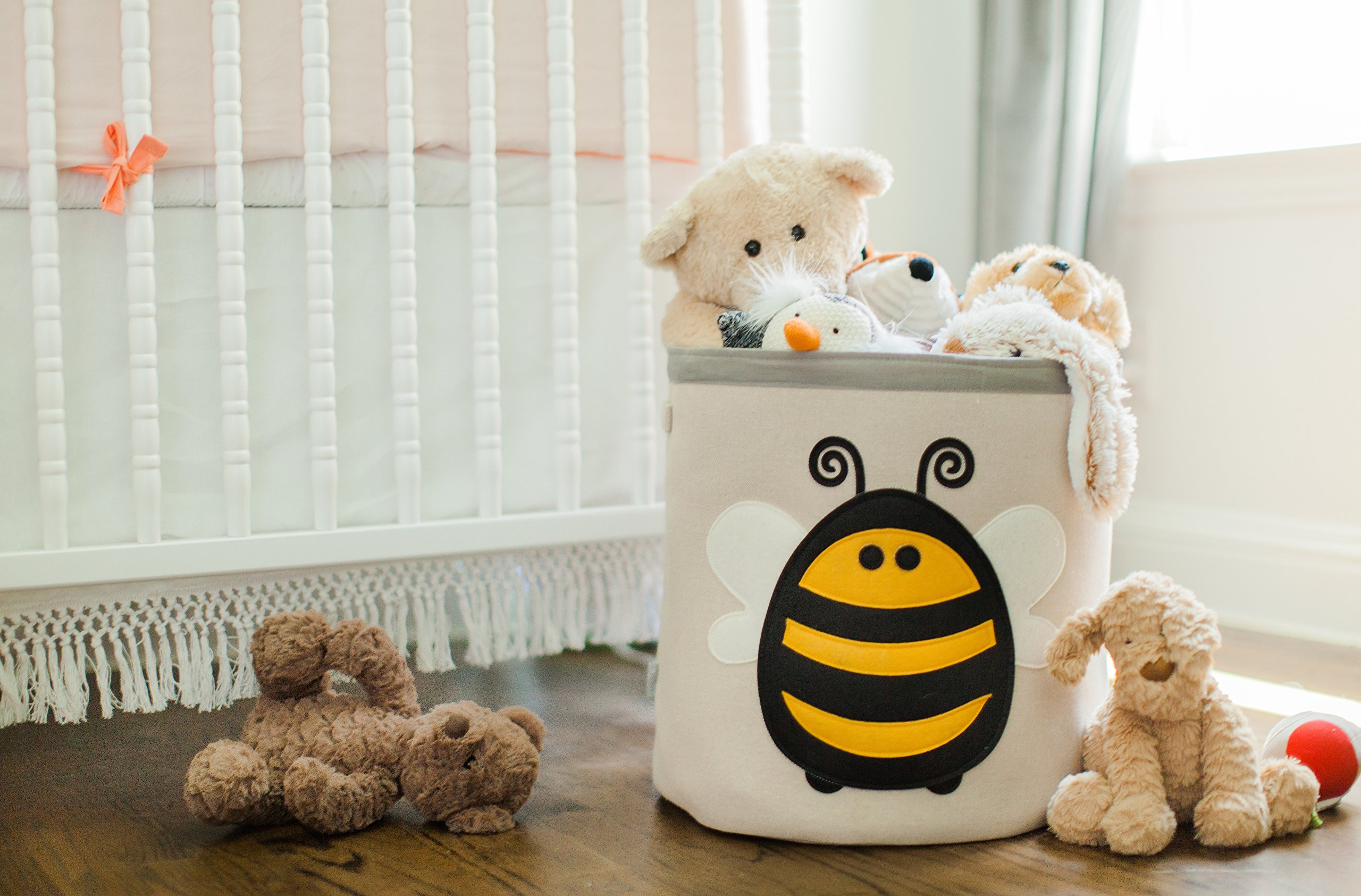 Grey Bee Animal Theme Collapsible Canvas Storage Bin for Kids, Yellow - Bee by Grey Bee (Image #3)
