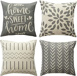 Pack of 4 Home Decorative Throw Pillow Covers Modern Cotton Linen Throw Pillow Covers Cushion Case for Couch Sofa Living Room Home Décor (1A-Grey, 18x18)
