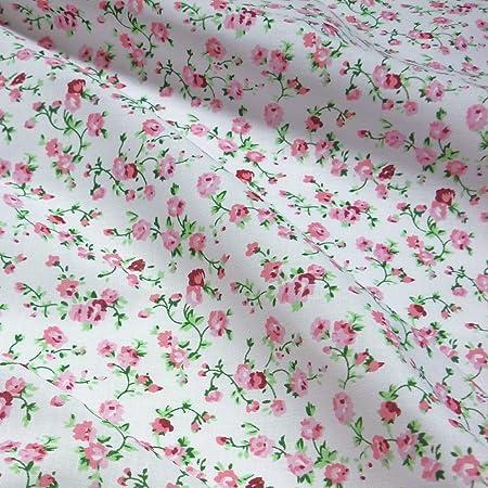 tela de polialgodón blanca, delicada flores rosas (por metro ...