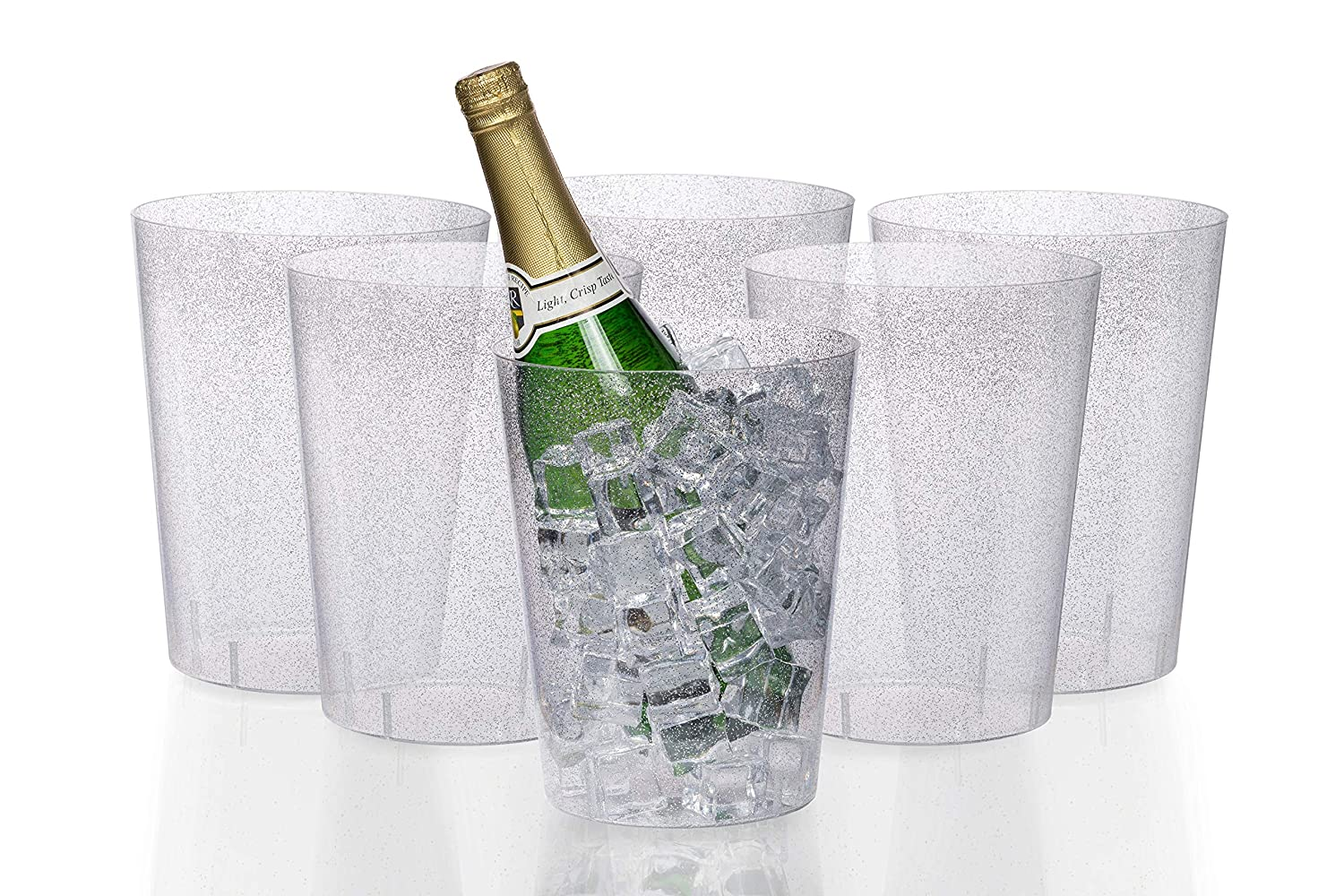 Good As One Large Champagne Chiller Or Classic Wine Bottle Chiller Exquisite 6 Pack of 96 Ounce Disposable Silver Glitter Clear Plastic Ice Bucket for Parties
