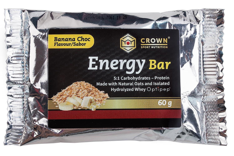 Crown Sport Nutrition 18 x Energy Bar (60g), Barritas de avena energéticas sin cobertura con extra de proteína para deportistas, Sabor de Banana Chocolate ...