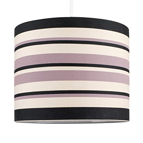 Moderna Pantalla de Lámpara de Techo Colgante MiniSun Cilíndrica con Estampado de Rayas en Crema, Negro y Rosa