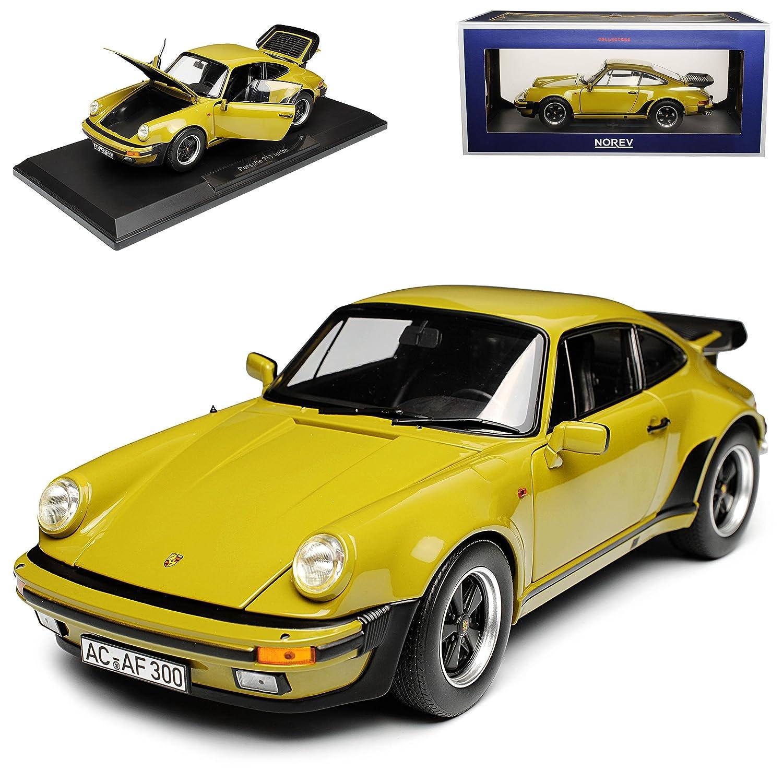 Norev Porsche 911 930 Turbo 3.3i G-Modell Coupe Olive Grün 1973-1989 1/18 Modell Auto mit individiuellem Wunschkennzeichen