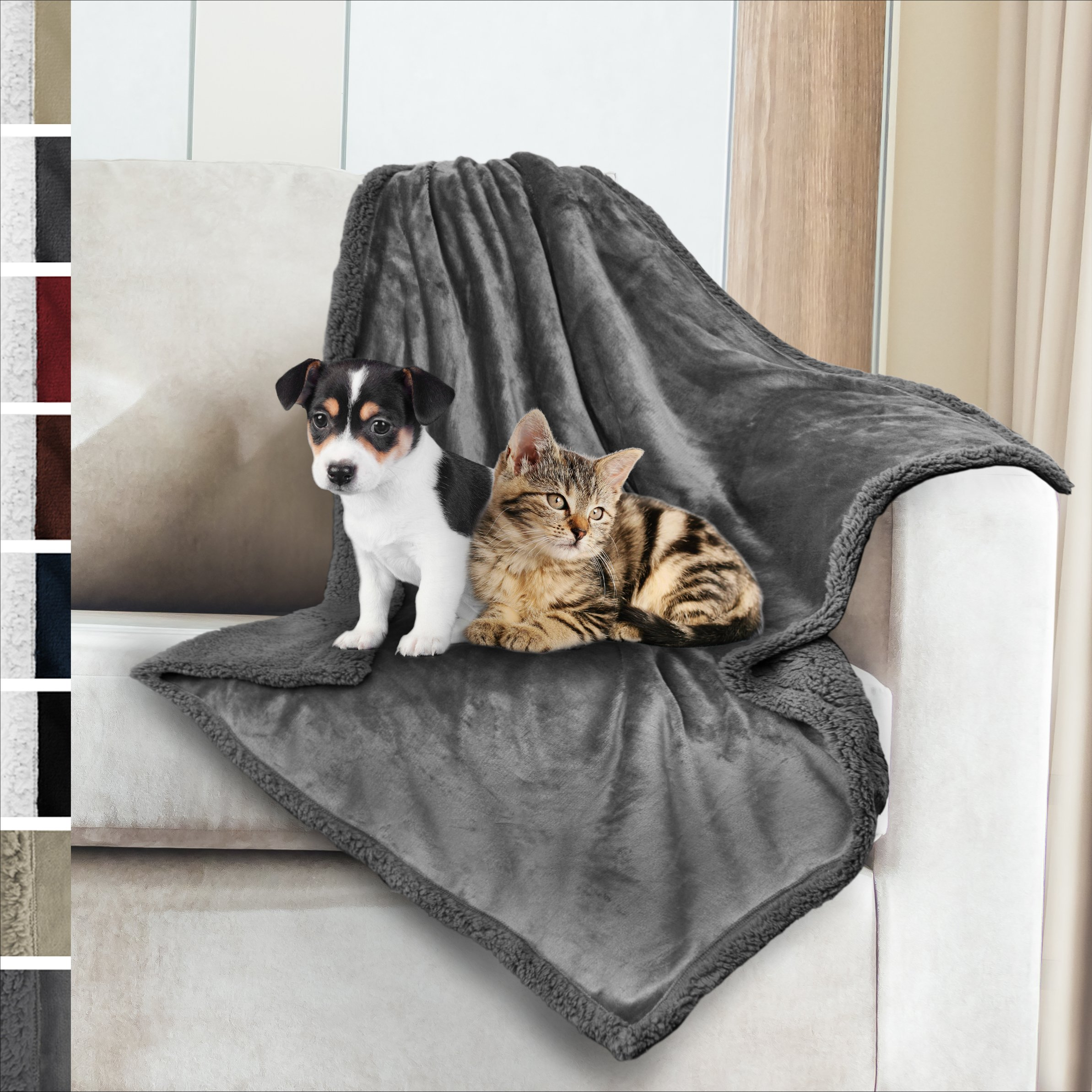 Premium Sherpa Dog Blanket | Pet Throw Blanket for Puppy, Small Dog, Medium Dog or Cat Kitten | Reversible, Soft, Lightweight Microfiber Throw – 30 x 40 Inches (Grey Grey)