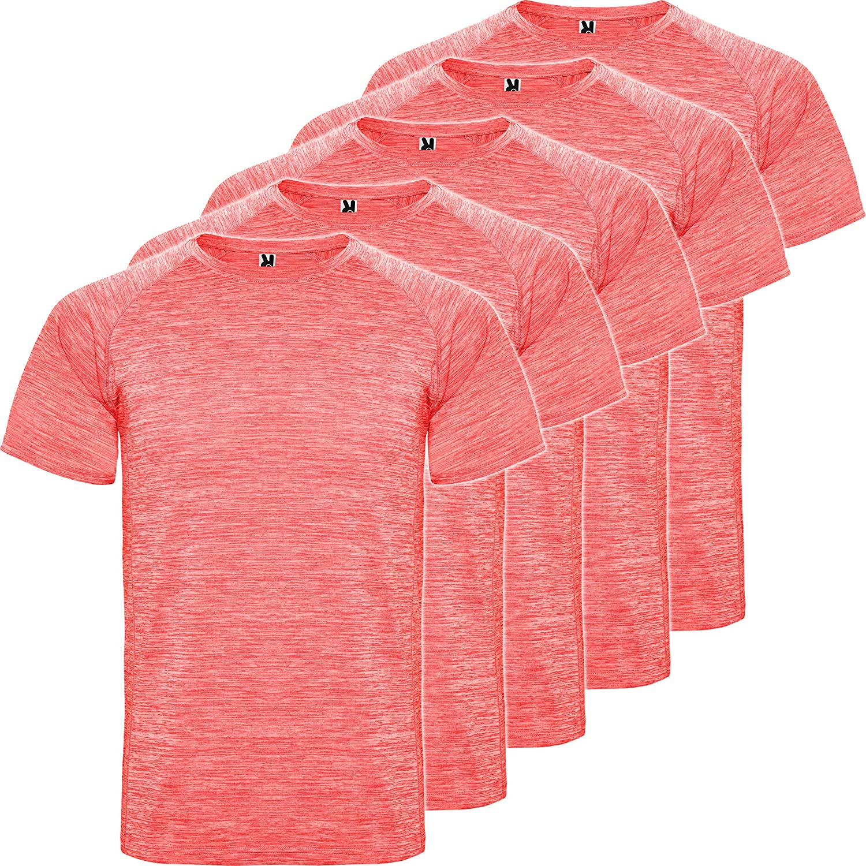 ROLY Camiseta técnica Hombre | Pack 5 | Manga Corta | Transpirable | Deporte: Fitness, Running, Crossfit, Padel | Tejido técnico- Poliéster: Amazon.es: Deportes y aire libre