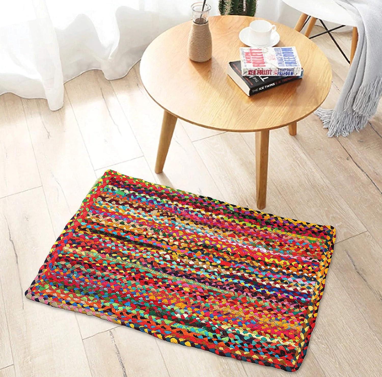 Beautiful Indian Hand Braided Bohemian Blue Shade Cotton Chindi Area Rug Multi colors Home Decor Rugs Floor Decor Carpet Size 2.6 X 4 Feet