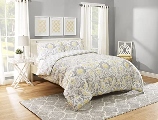 Bethany Sophisticated Floral 3 Pc Quilt Set-Quilt 2 Shams-Reversible Comforter