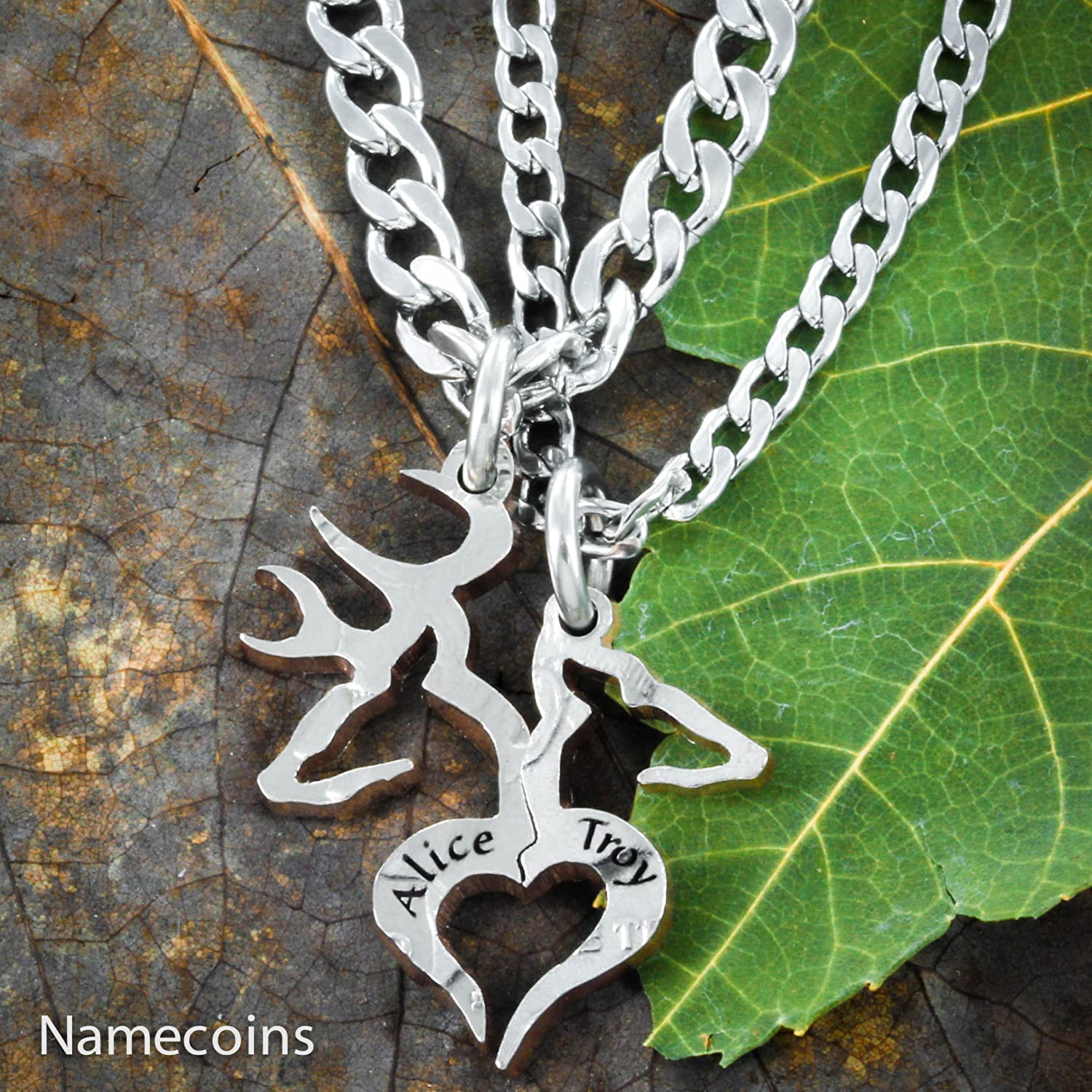 hunting hand with l necklace custom initial doe buck heart names and quarter engraved couples