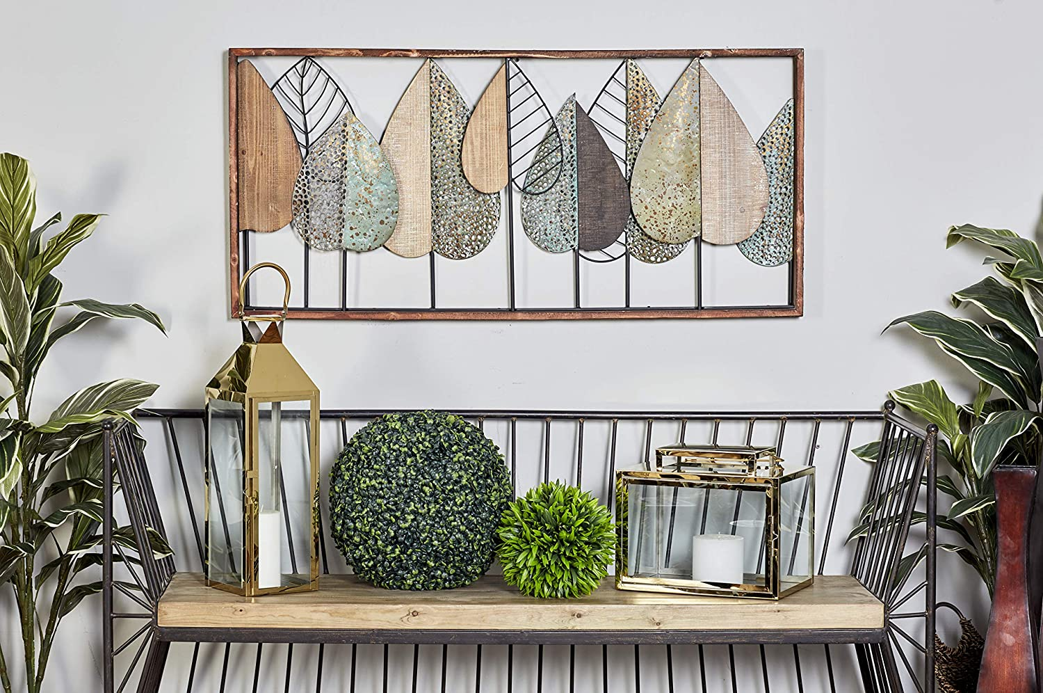 Deco 79 Natural Rectangular Iron and Wood Stylized Leaf Wall Decor, 47