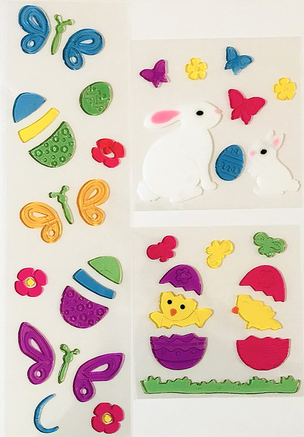 Car and More! Butterflies Chicks Mirrors Fun Spring Gel Clings: Bunny Family Eggs and Flowers Decoration Pack for Windows