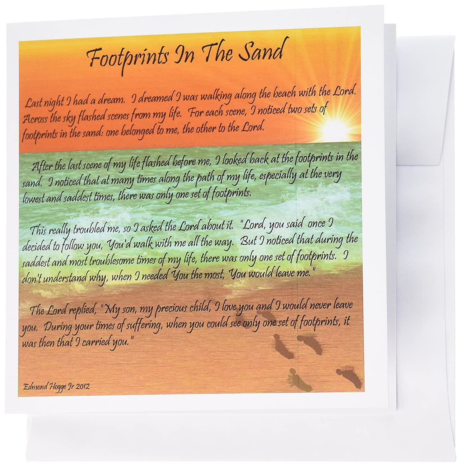 Amazon 3drose Footprints In The Sand Greeting Cards 6 X 6
