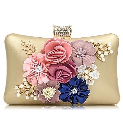 b970e0c283a2 Milisente Women Flower Clutch Bag Rhinestone Evening Bag for Wedding