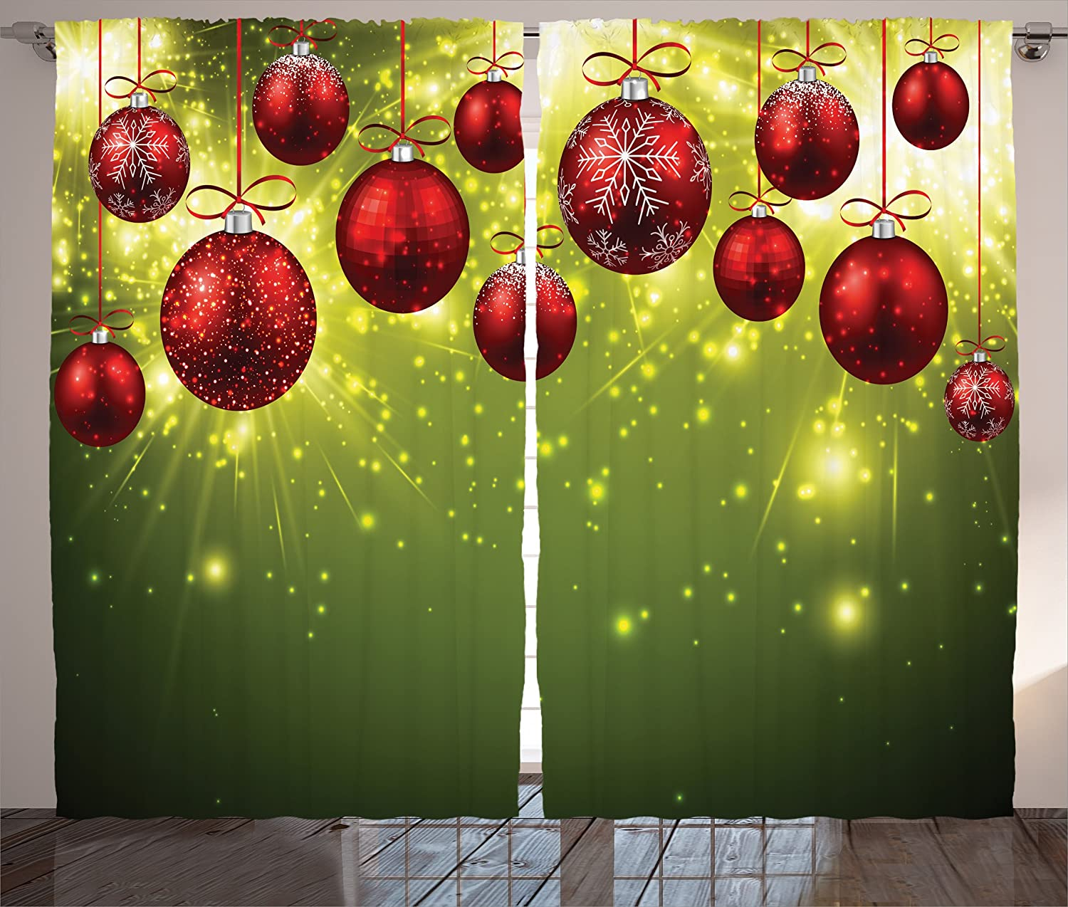 Amazon.com: Christmas Curtain Green Christmas Decorations Bedroom By  Ambesonne, Vibrant New Year Design With Psychedelic Digital Light Effects  Print And ...