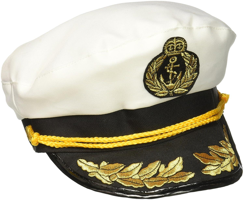 Forum Novelties Gorro de Capitán de Yate mar patrón blanco azul ...