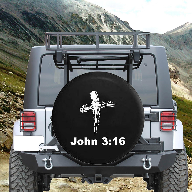 John 3:16 Bible Verse God Cross Spare Jeep Wrangler Camper SUV Tire Cover Gray Ink 33 in