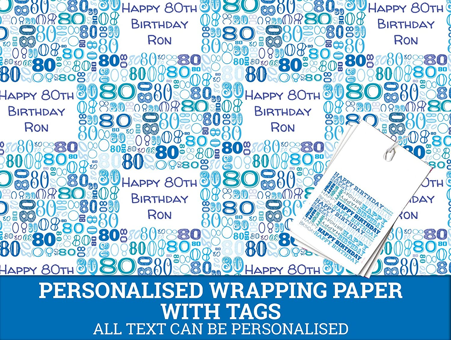 Blue Happy 80th Personalised Wrapping Paper - 590mm x 840mm Dom and Geri
