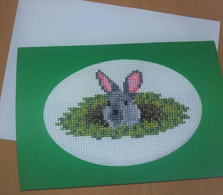 Rabbit Card Cross Stitch Kit - Beginners Counted Cross Stitch