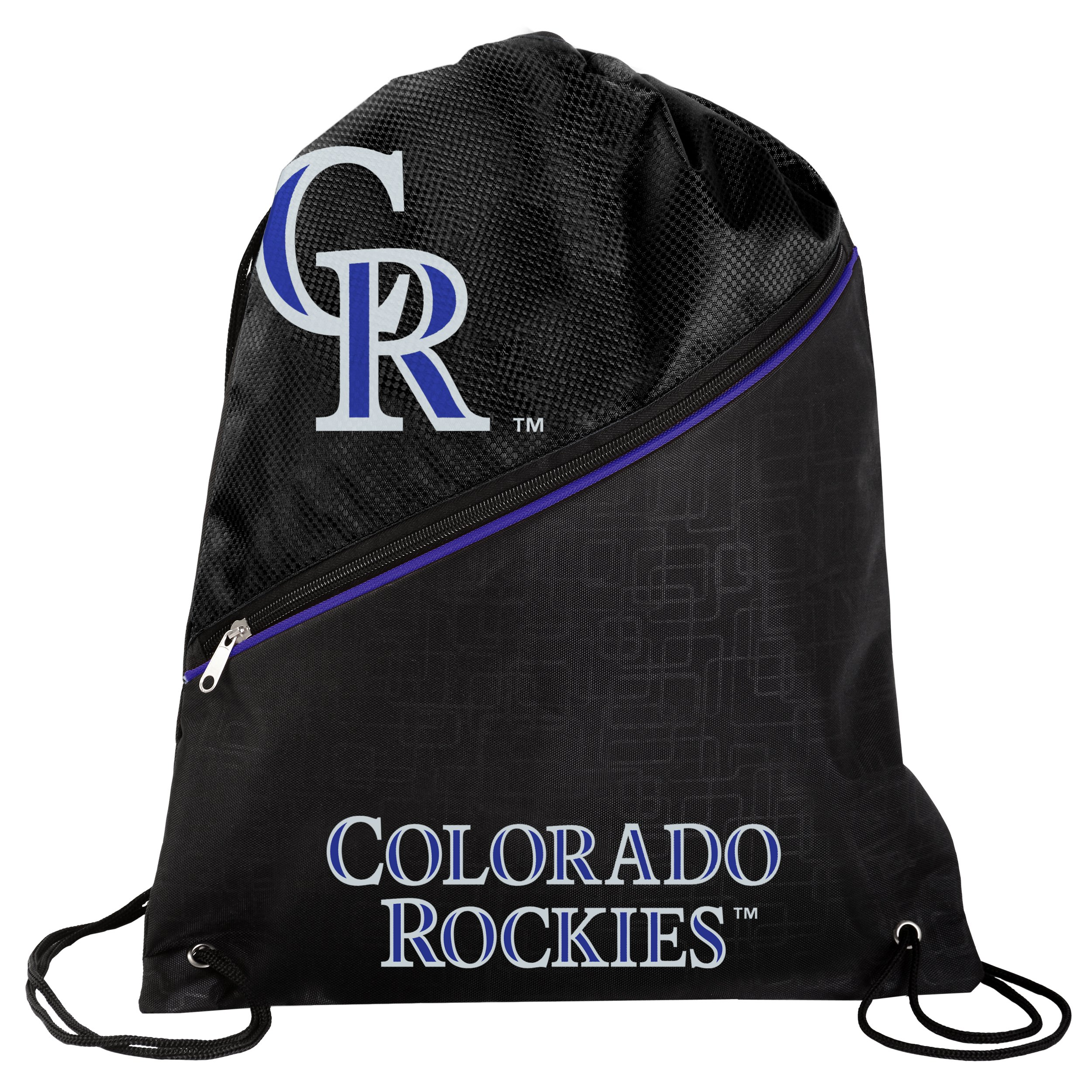 FOCO Colorado Rockies High End Diagonal Zipper Drawstring Backpack