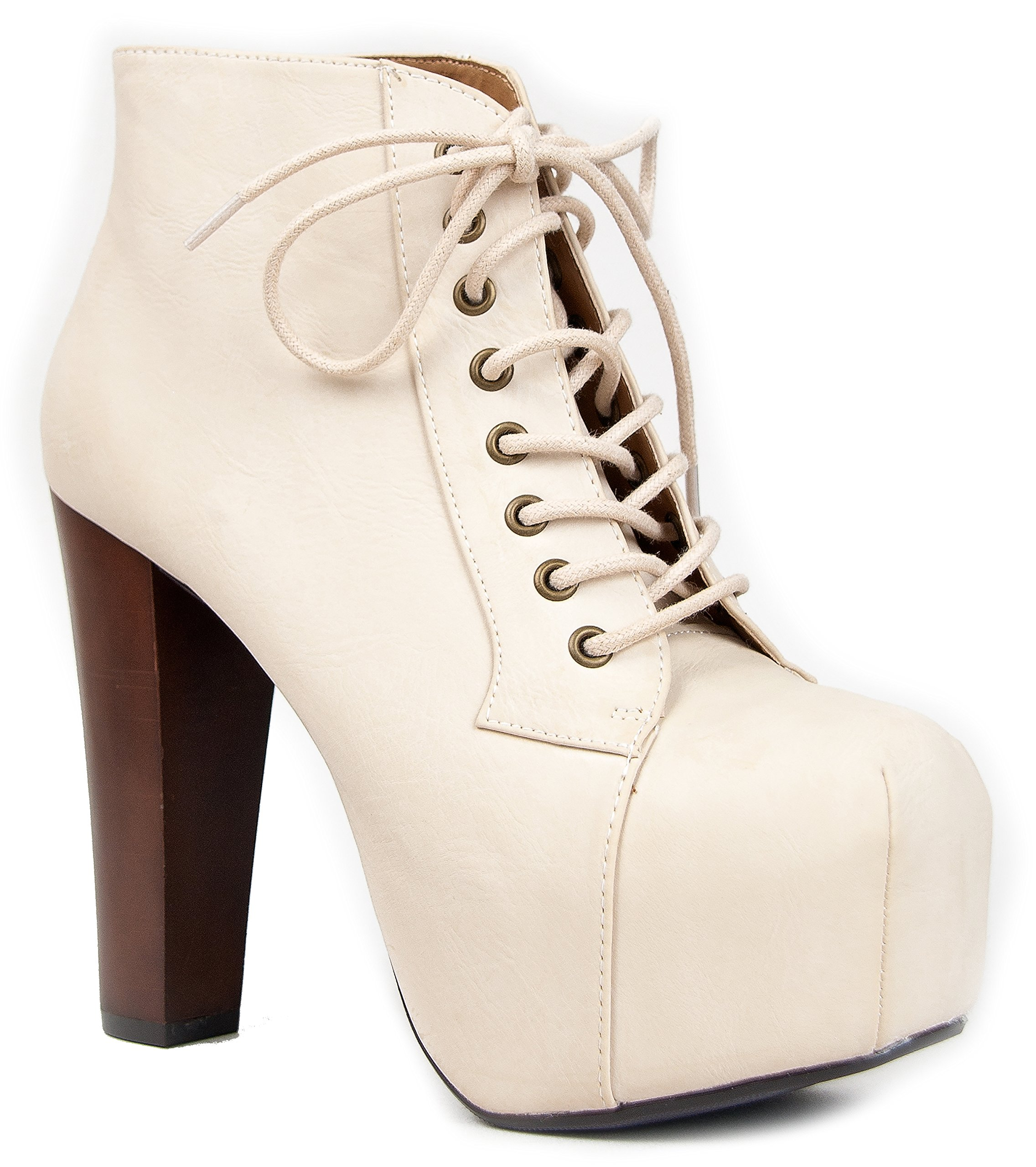 Speed Limit 98 ROSA Designer Inspired Lita Style Chunky High Heel Lace Up Ankle Boot Bootie, 8.5, Off-White by Speed Limit 98
