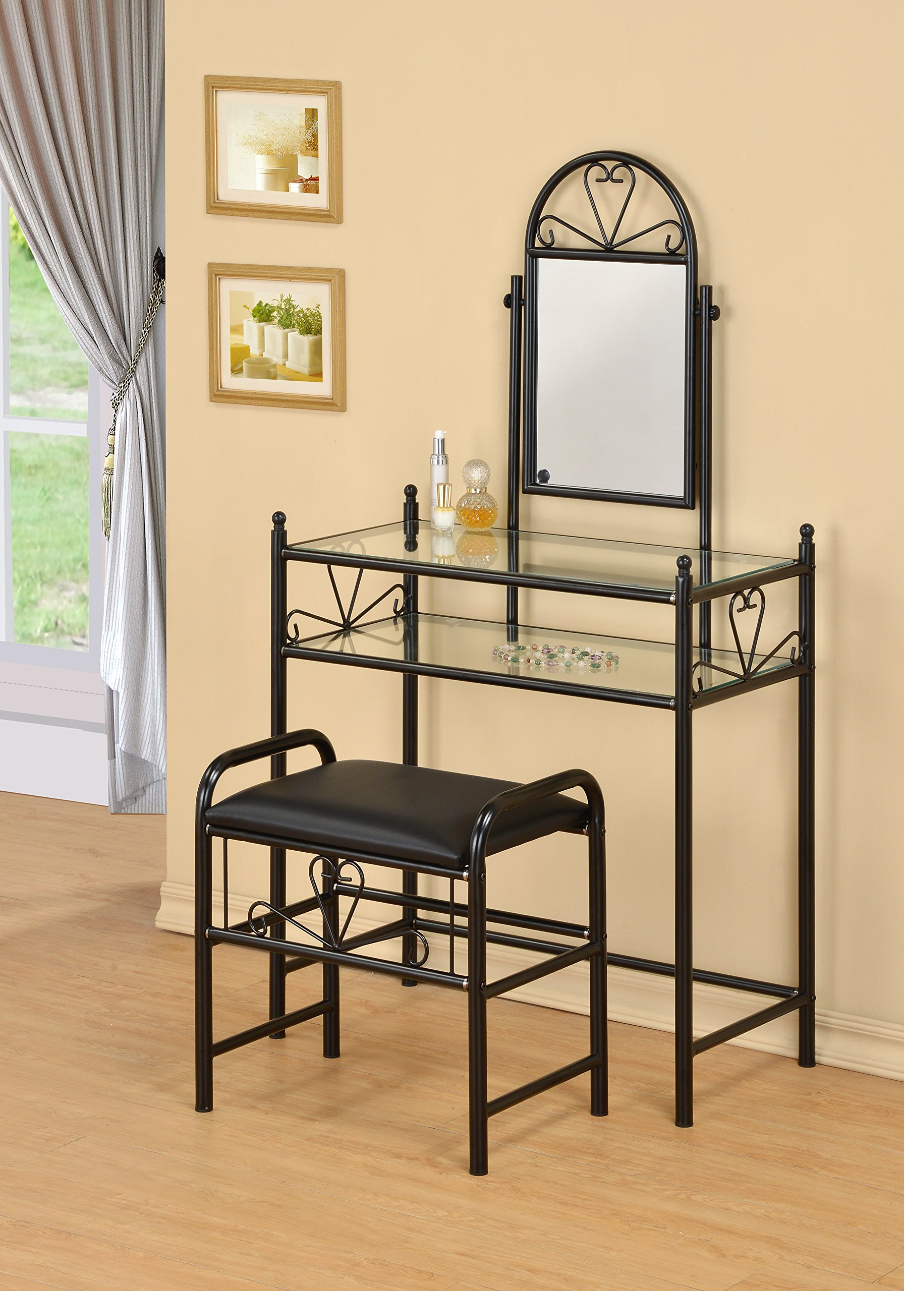 3-Piece Metal Make-Up Heart Mirror Vanity Dresser Table and Stool Set, Black