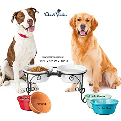 Buy BestVida Sparks Elevated Dog Bowls, Dog Bowl Stand for Large Dogs,  Raised Dog Bowl with Double Premium Stoneware Bowls (Large, White) Online  in Philippines. B00RW7M1QU