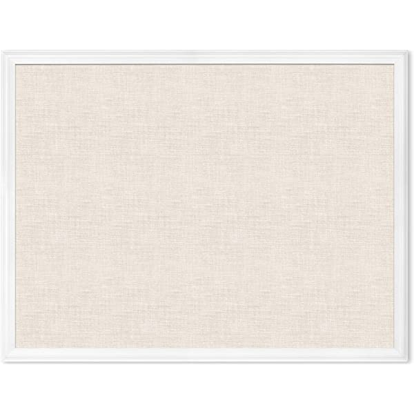 Designovation Beatrice Framed Linen Fabric Pinboard 27x43 White Rustic Coastal Memo Board Wall Organizer Furniture Decor