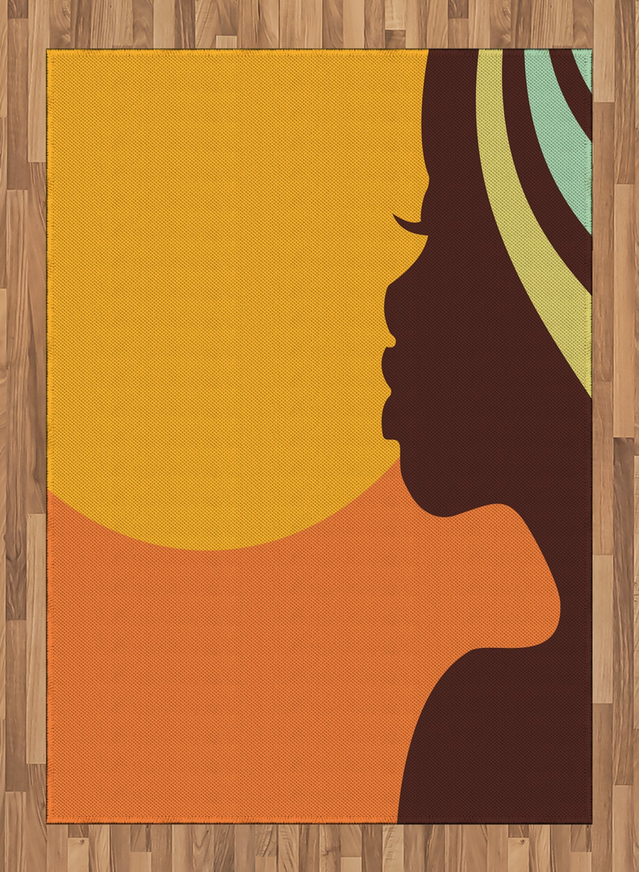 African Woman Area Rug by Ambesonne, Teenage Girl Pretty Face Profile Abstract Sunset Calm Evening, Flat Woven Accent Rug for Living Room Bedroom Dining Room, 5.2 x 7.5 FT, Orange Salmon Dark Brown