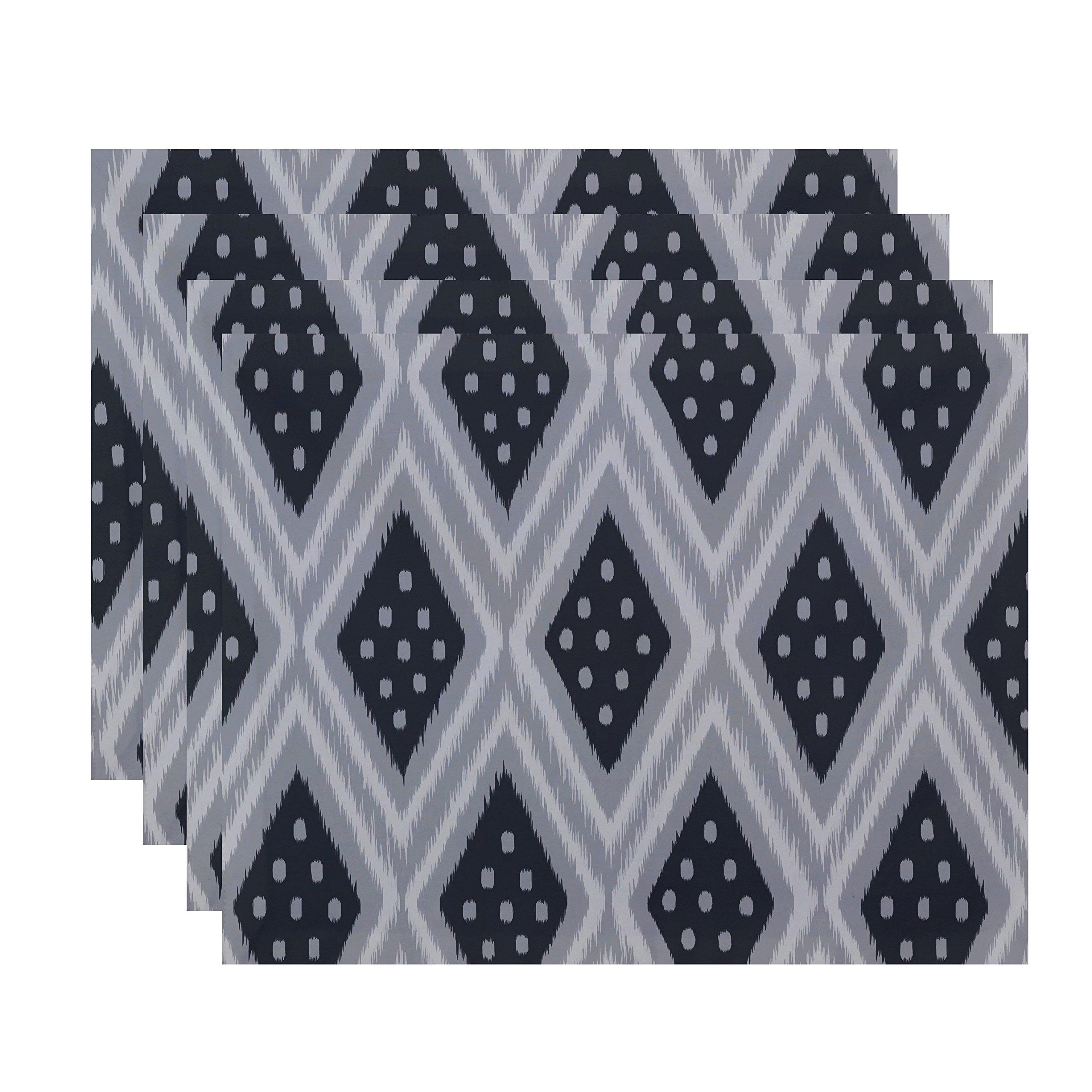 E By Design Ikat Diamond Dot Geometric Print Placement, 18'' by 14'', Steel Gray
