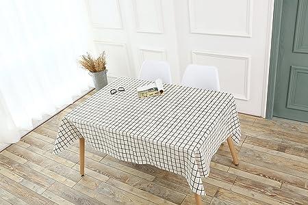 Noir/blanc Plaid salle à manger nappes 100% lin avec housse ...