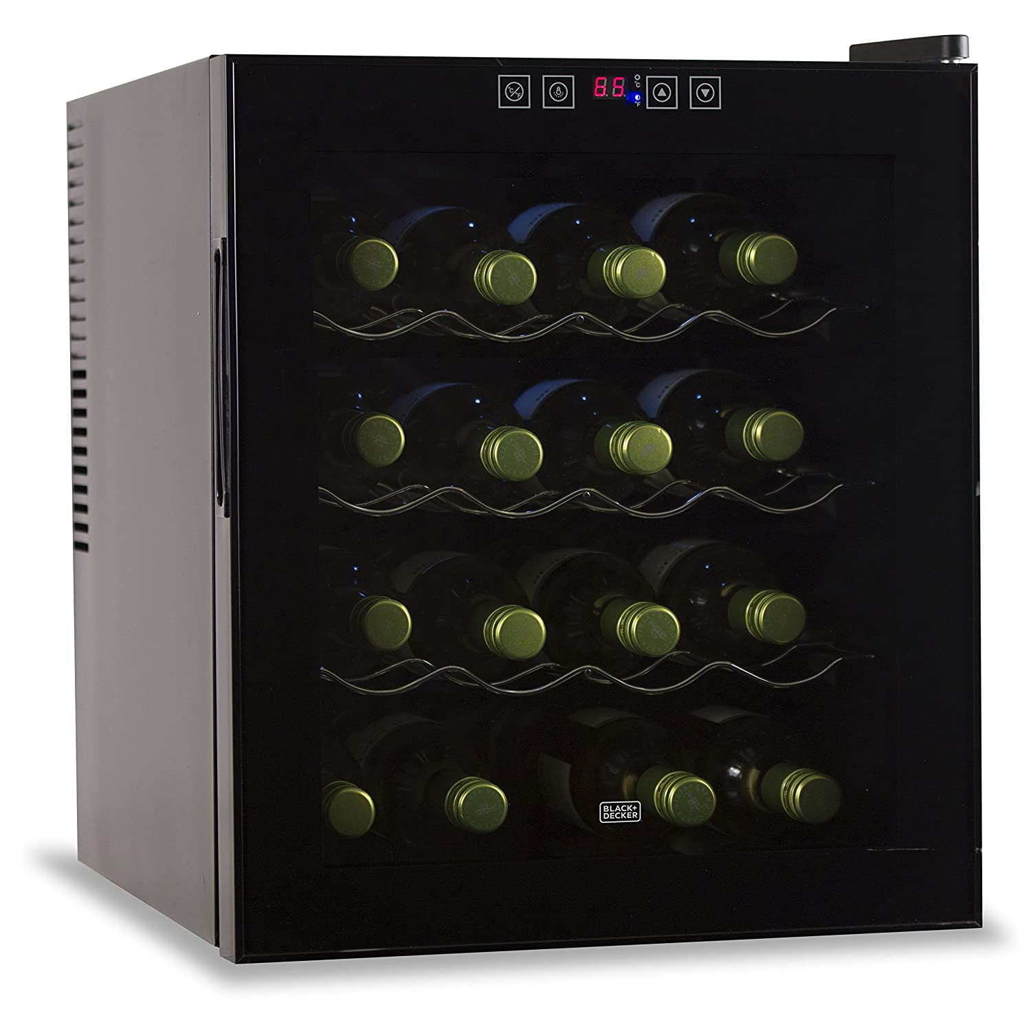 16 Bottle Capacity Thermoelectric Wine Cellar - Electronic Touch Controls & LED Display - Black Cabinet with UV Glass Door & Interior Light by BLACK+DECKER BWT16TB