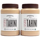 Pepperwood Organic Stone-Ground Sesame Tahini Butter, Hulled, Unsalted, Non-GMO, Gluten-Free, Kosher, Vegan, USDA Organic, Peanut-Free, 14 Ounce (2-Pack)