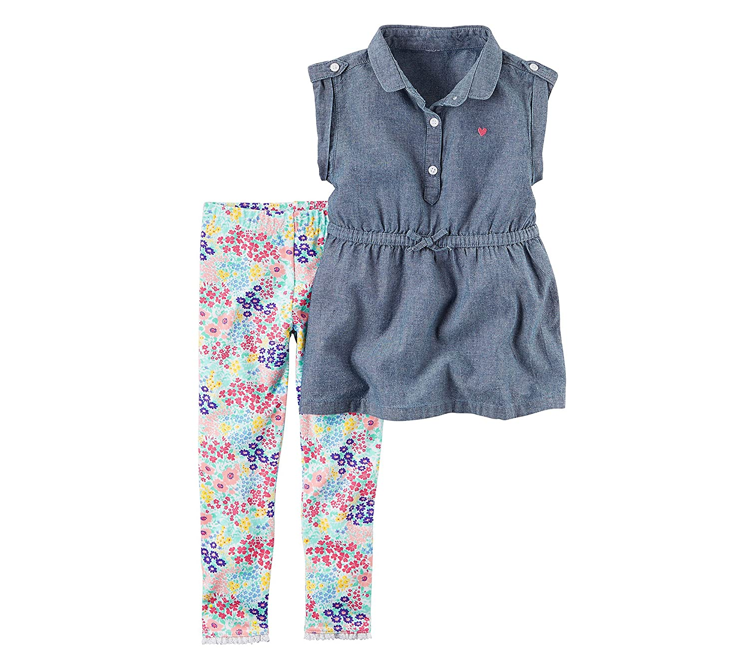 Carters Baby Girls 2-Piece Denim Tunic and Printed Leggings Set