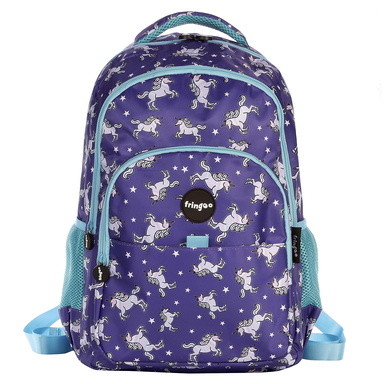 FRINGOO® Girls Boys Multi-Compartment School Backpack Waterproof Fits Laptop 17'' (H:44cm*L:29cm*W:21cm, Boys Doodles) MF-71W6-AO6F