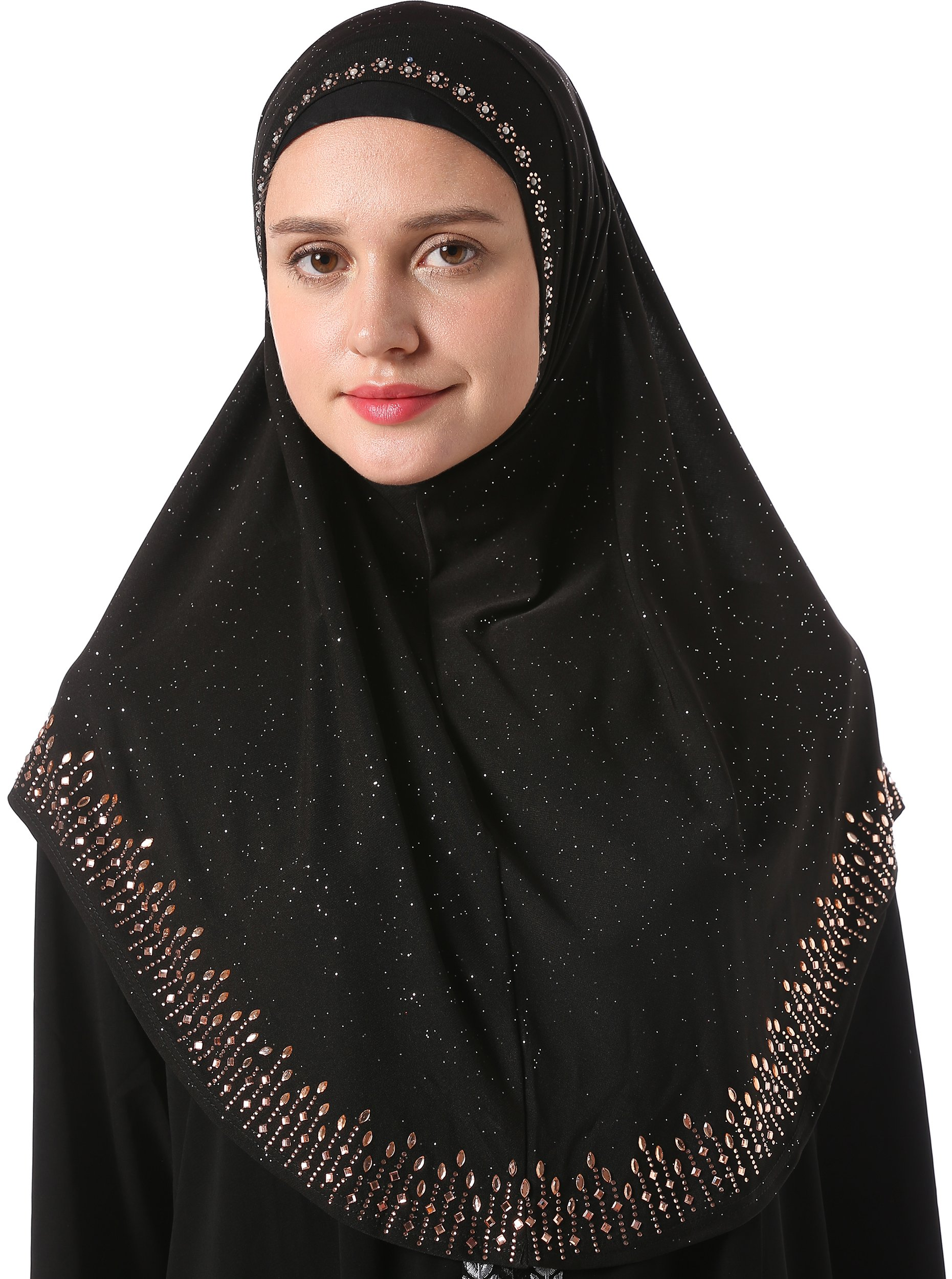 YI HENG MEI Women's Modest Muslim Rhinestones Instant Hijab Jersey Headscarf Ready to Wear Hijab,Black
