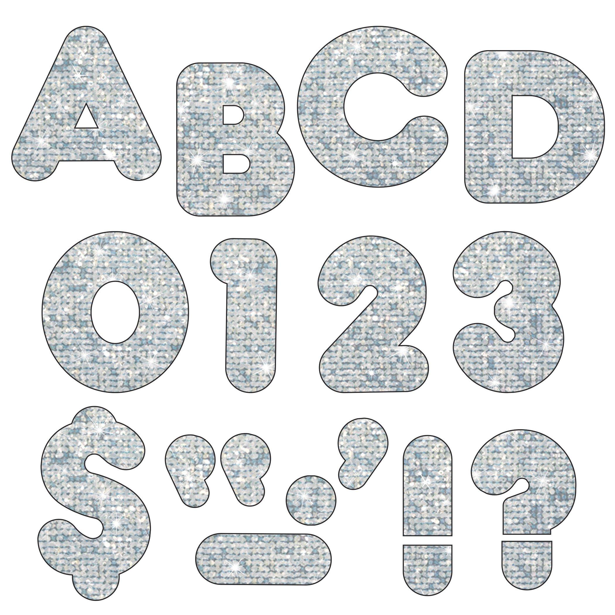 TREND enterprises, Inc. T-1613BN Silver Sparkle 4'' Casual UC Ready Letters, 6 Packs by TREND Enterprises