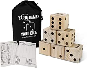"Giant 3.5"" Wooden Yard Dice with Laminated Yardzee and Farkle Scoresheets and Durable Carrying Case"