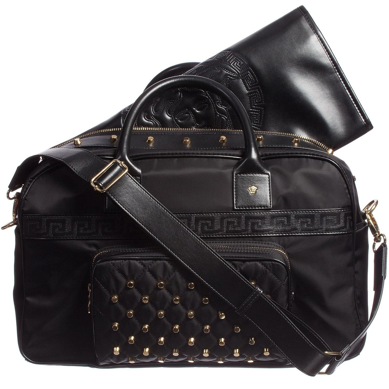 5cd23a2f Amazon.com : Versace Unisex Large Black Nylon & Leather Gold Studded ...