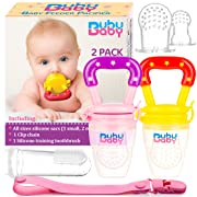 Bububaby Baby Feeder Toys with Pacifier Clip Holder/ Silicone Feeding Teether for Fresh and Frozen Fruit or Food, Training Finger Toothbrush and 2 Extra Teats, 2 Pack (Pinky Purple & Honey Yellow)
